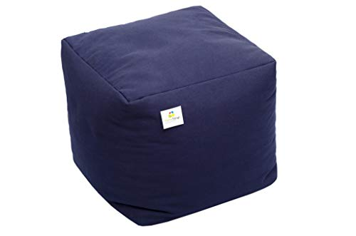 HomeStrap Footrest/Pouffe Filled with Beans - Navy Blue