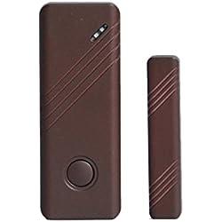 Wolf Guard Magnetischer Tür + Fensteralarm | Kabellos | Ergänzung / Erzatz Für Alarmanlage | Sensor | Funk | Türkontakt - Fensterkontakt | Einbruchschutz | Schalter | Alarm | Wireless | Smart | Braun