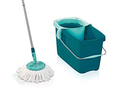 Leifheit Set Clean Twist Disc Mop Wischer für nebelfeuchte Reinigung, Wischmop mit effizienter Schleudertechnologie, Schleudermop ohne Fußbedienung