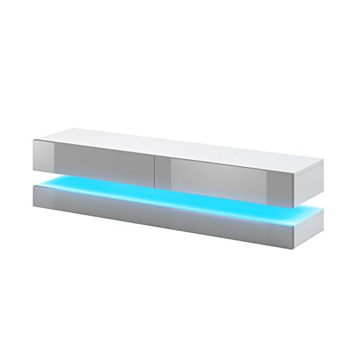 Aviator - Mobiletto porta TV sospeso / Supporto TV sospeso a parete (140 cm, bianco opaco / pannelli...