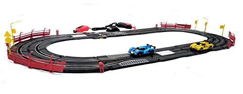 Plutofit® Turbo Challenge Slot Racing Track Set with Two Slot Cars and Two Speed Modes