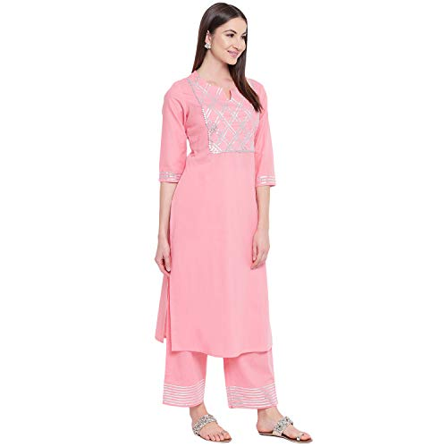 Khushal K Women's Cotton Kurta With Palazzo Set (Light Pink - Medium)