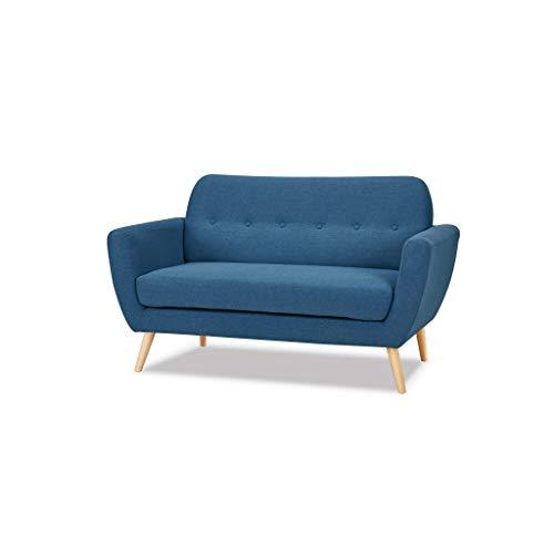 Milani Home s.r.l.s. Divano 2 posti Blu Melange Stile Moderno di Design Contemporaneo con Bottoni...