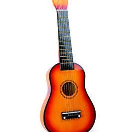 7160 Chitarra giocattolo / strumento musicale in legno, per bambini, con corde metalliche e plettro,