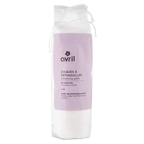 AVRIL - Dischetti in Cotone Biologico - per eliminare il make up - Lato liscio e rigato - Dermatologicamente testati - 70 pz