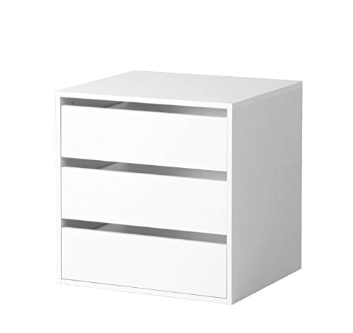 Composad CT9301K15005 Cassettiera Interna (3 unità) in Legno di Colore Bianco, 51 x 58 x 59 cm,...