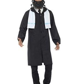 Smiffys-44689L Disfraz de rabino, con Chaqueta, pañuelo, Sombrero y Barba, Color Negro, L-Tamaño 42