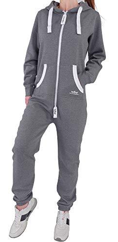 CR3 Finchgirl Damen Jumpsuit Jogging Anzug Trainingsanzug Overall Dunkelgrau S