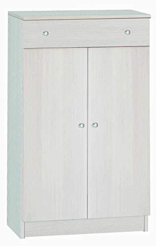 Esidra Armadio Basso Multiuso 2 Ante + cassetto, Legno Chiaro, 62 x 34 x 150 cm