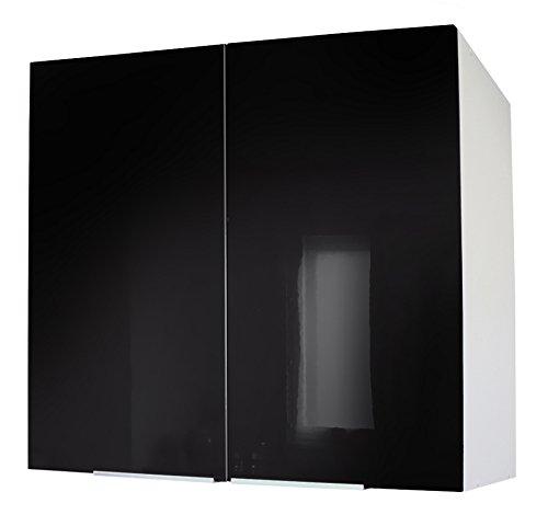 Berlenus CP8HN - Mobiletto da Cucina a Parete a Due Ante, 80 cm, Colore: Nero Brillante