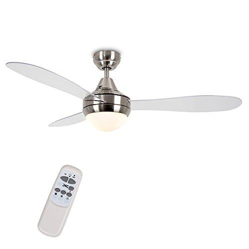 MiniSun - Ventilatore da soffitto moderno con luce, Denver' - di grandi dimensioni (122cm) - con 3...