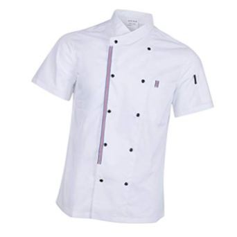 P-Prettyia-Atmunngsaktiv-Kochjakce-Bckerjacke-mit-Druckknpfe-Kochbekleidung-Arbeitskleidung-Berufsbekleidung-Arbeitsjacke-fr-Gastronomie-Wei-3XL