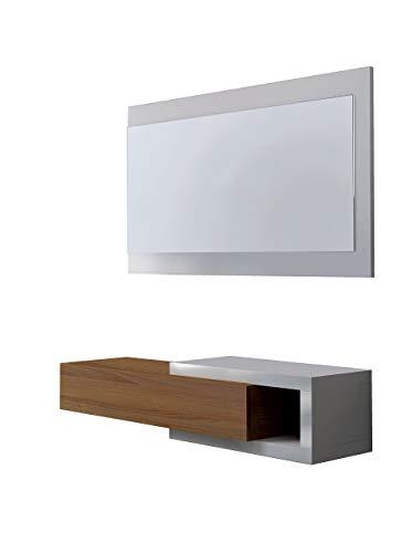13Casa - Toledo B4 - Mobile ingresso + specchio. Dim: 95x26x19 h cm. Col: Bianco. Mat: Melamina,...