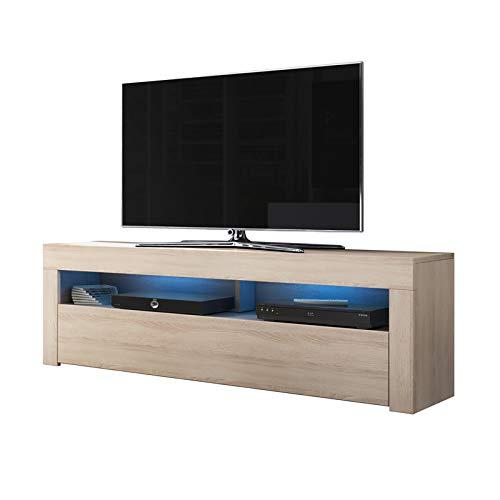 Alan - Mobile porta TV / Supporto TV / Mobile TV audio e video (160 cm, quercia Sonoma con luci LED...