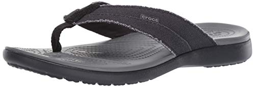 Crocs Santa Cruz Canvas Flip Men Scarpe da Spiaggia e Piscina Uomo, Multicolore (Black / Slate Grey...
