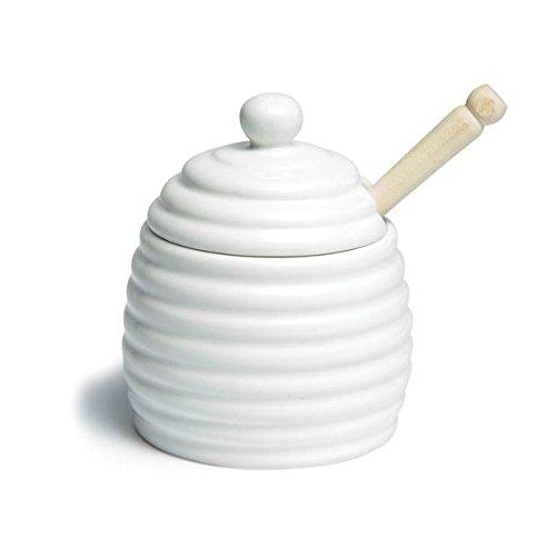Honigtopf Mit Holz Dipper (11Cm) Weißen Keramik (Packung mit 4)