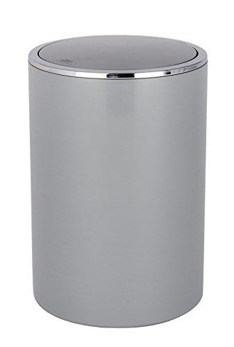 Wenko 22562100 Schwingdeckeleimer Inca Grey, Kosmetikeimer, Mülleimer, Fassungsvermögen: 5 l, Acrylnitril-Butadien-Styrol (ABS), 18.5 x 25.5 x 18.5 cm, grau