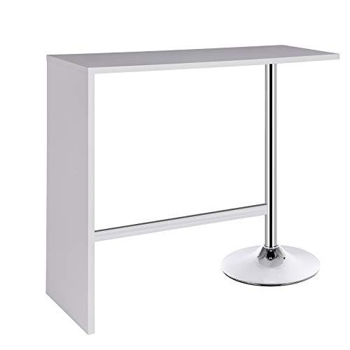 WOLTU Bartisch BT23ws Stehtisch Bistrotisch Bartheke Tresentisch, Metallgestell, Tischplatte aus MDF, Weiß, 113x40x105cm(BxTxH)