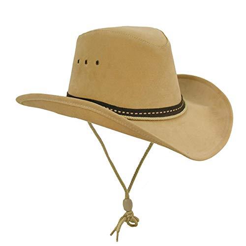 Kakadu Western, Cowboy Linedance Sommerhut mit formbarer Krempe und Kinnband | Herren Damen | Western Style, XXL, Beige