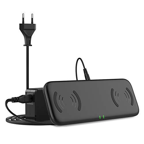 YOOTECH Dual Fast Wireless Charger mit Lüftung,7.5W induktiv Ladestation für iPhone XS MAX/XR/XS/X/8/8 Plus, 10W QI Induktions Ladegerät für Galaxy S10+/S10/S10e/Note 9/S9/S9 Plus/Note 8/S8/S8 Plus/S7