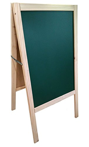 Lavagna verde con cavalletto, in pino. 120 x 60 cm, adatta per pennarello di gesso liquido e gesso...