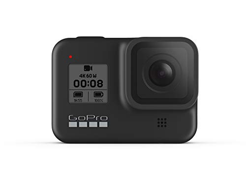 GoPro HERO8 Black - Fotocamera digitale impermeabile 4K con stabilizzazione ipersfondata, touch screen e controllo vocale - Streaming live HD