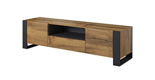 BIM Furniture TV Stand NUNKI - Mobile Basso in Rovere wotan, 180 cm, Colore: Antracite