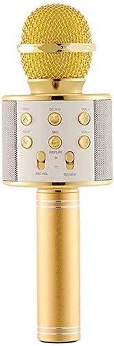 YAOGZ Inalámbrica Bluetooth Karaoke, 3 en 1 portátil Altavoz portátil máquina de Karaoke, hogar KTV niños Cantando Función Fiesta de cumpleaños del Registro (Color : Gold)