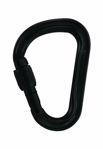Petzl Karabiner Attache Screw-Lock - Mosquetón de escalada con seguro, color negro