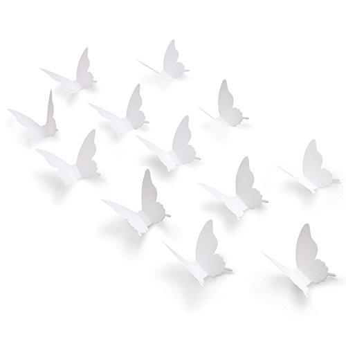 Luxbon 100p 3D Papel Blanco Pegatinas de Pared de Mariposa DIY Decoració