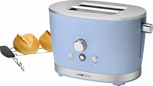 Tostapane con scalda panini blu in acciaio inox termostato regolabile (Retro, 850 Watt, 2 fessure...