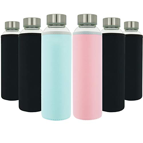 T&N Glasflaschen 6er Set 550ml - Neopren Schutzhüllen - Auslaufsicher - Spezial Glas BPA-frei - für Wasser Smoothie Saft Tee - Premium Trinkflasche auch für Kinder - Sport-Flasche mit Bürste