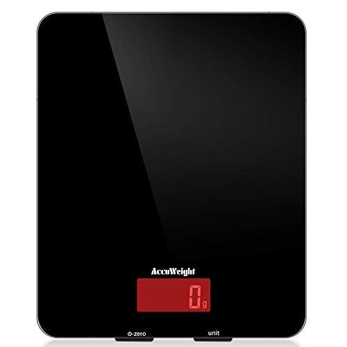 ACCUWEIGHT Báscula Cocina Digital, Diseño de Vidrio Templado Fácil de Limpiar, Balanza de Alimentos Alta Precisa con Retroiluminación para Peso Cocina, 5kg/11lb