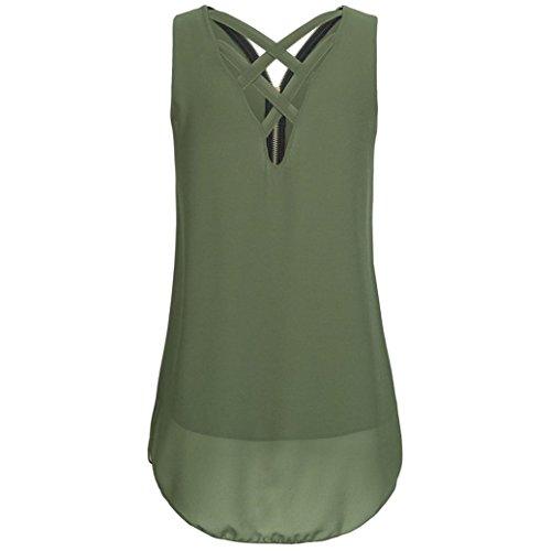 OverDose Damen Sommer Ärmellos T-Shirt Hemd Frauen Lose Tank Tops Kreuz zurück Saum Gelegt Reißverschluss V-Neck Tops(Grün,EU-46/CN-XXL) - 2