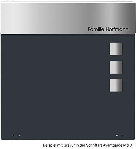 Frabox® Design Briefkasten NAMUR anthrazitgrau RAL 7016 mit Zeitungsfach & Namensgravur