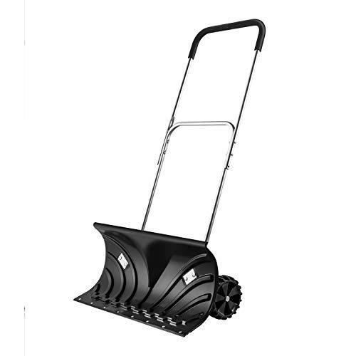Arado de nieve resistente, empujador de nieve con ruedas, arado de pala ajustable, adecuado para limpieza de pavimento de la calzada (negro, 140cm de longitud, 66x33cm hoja)