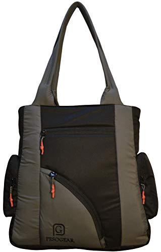 Pesogear Women's Multi-pocket Polyester Nylon Hand Shoulder Bags Totes Purses Hobo (Black and Grey)