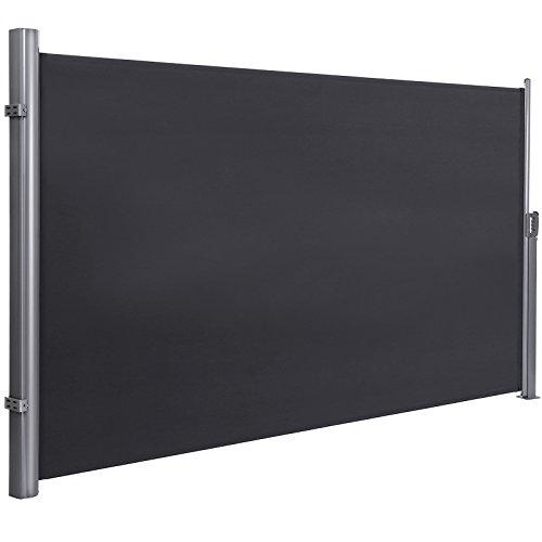 SONGMICS Seitenmarkise 200 x 350 cm (H x L) für Balkon und Terrasse, Sichtschutz, Sonnenschutz, Seitenrollo GSA205G