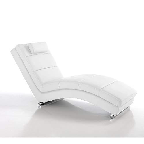 Wink Design Sofia White Chaise Longue, Pelle, Bianco, 62x172x85 cm