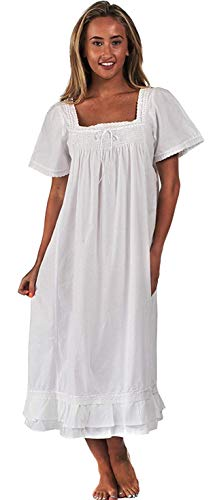 Inconnu The 1 for U 100% Cotton Robe de Nuit Manches Courtes - Evelyn - Blanc, XXL 22