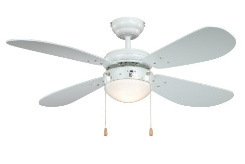 Deckenventilator mit Beleuchtung Classic, Gehäuse weiß, Flügelfarbe weiß, 105 cm