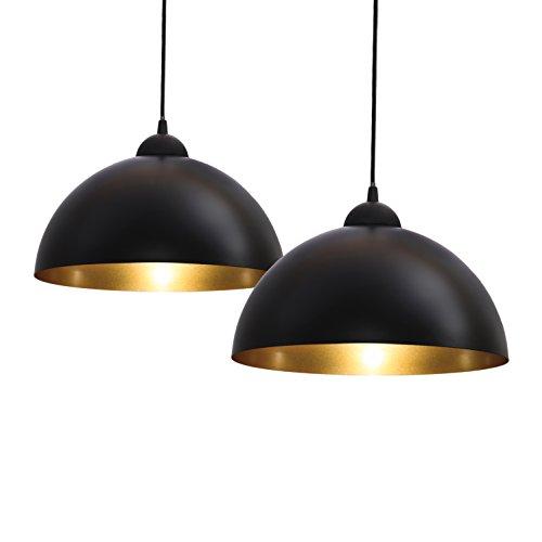 B.K.Licht Design 2x Industrielle Vintage LED Pendelleuchte Hängeleuchte Ø 30cm für E27 Leuchtmittel, schwarz und weiß wählbar, für Wohnzimmer Esszimmer Restaurant Keller Untergeschoss usw.