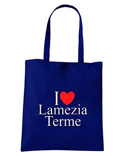 Borsa Shopper Blu Navy TLOVE0080 I LOVE HEART LAMEZIA TERME