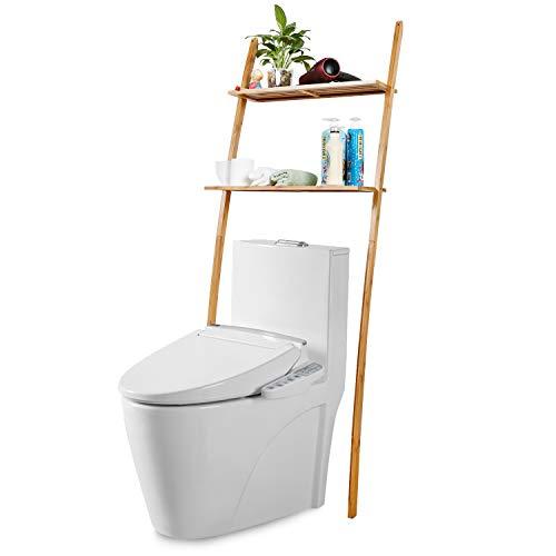 Toilettenregal Waschmaschinenregal platzsparendes Badregal aus Bambus, Bad WC Regal Lagerregal mit 2 Ablagen - 173 x 66 x 25 cm