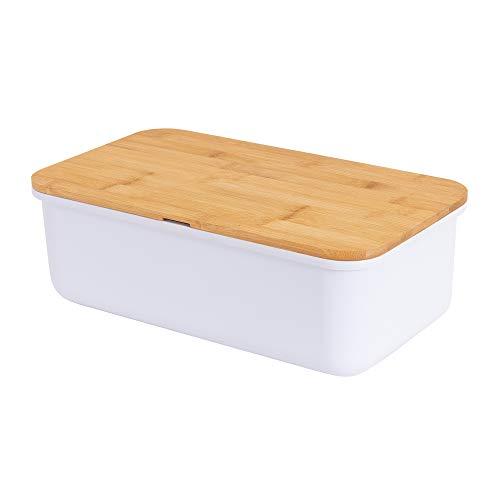 Geräumiger Brotkasten aus Melamin mit Bambusdeckel als Schneiderbret Maße 38x22x12cm in Farbe weiß