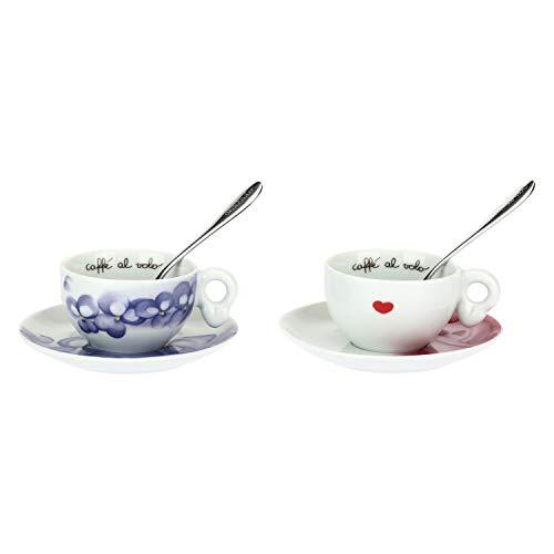 THUN Set 2 Tazzine caffè-Linea Amore-Porcellana-con 2 Cucchiaini in Acciaio inox-100 ml-Ø 5,5 cm,...