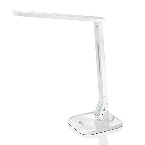 Schreibtischlampe LED TaoTronics Dimmbare Lampe mit 4 Farbmodi 5 Helligkeitsstufen (5V/1A USB-Ladeanschluss, 140 Grad Drehbarer Arm, 1-Stündiger Auto-Off Timer, Touchsteuerung, Memory-Funktion)