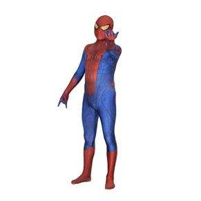 WOLJW Spiderman Traje de Cosplay Mono del Adulto Monos Vestimenta película Prop Performance Show de Navidad, Rojo,XS