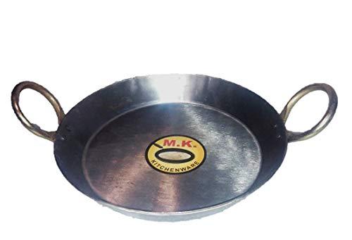 MK KITCHENWARE Flat Iron Kadhai/Fry Pan 2.5 Liter,10.5 Inches,26.6 cm Original Iron/loha