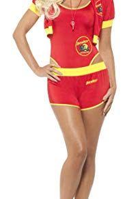 Smiffys-42962S Licenciado Oficialmente Disfraz de Los Vigilantes de la Playa,, bañador, SH, Color Rojo y Amarillo, S - EU Tamaño 36-38 (Smiffy'S 42962S